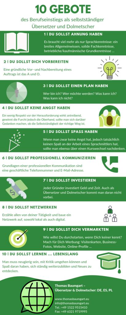 10 Gebote des Berufseinstiegs Infografik