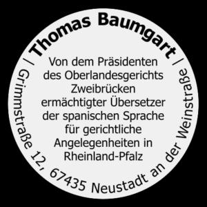Stempel Thomas Baumgart Ermächtigter Übersetzer Spanisch Deutsch