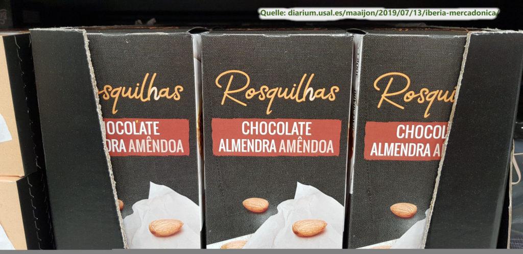 Die Verpackung von Mandelgebäck auf Spanisch und Portugiesisch