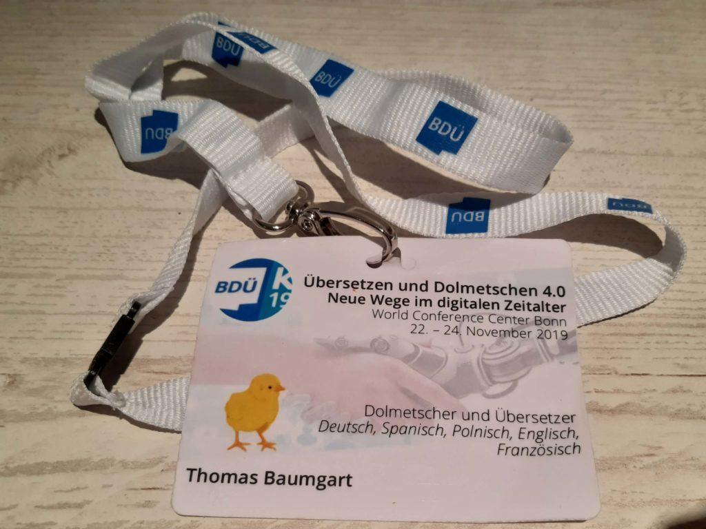 """Namensschild von Thomas Baumgart bei der BDÜ-Konferenz """"Übersetzen und Dolmetschen 4.0 – Neue Wege im digitalen Zeitalter"""""""