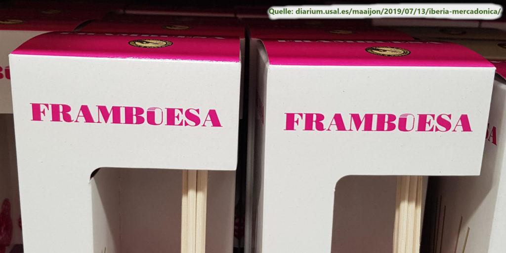Die Verpackung eines Raumdufts auf Spanisch und Portugiesisch