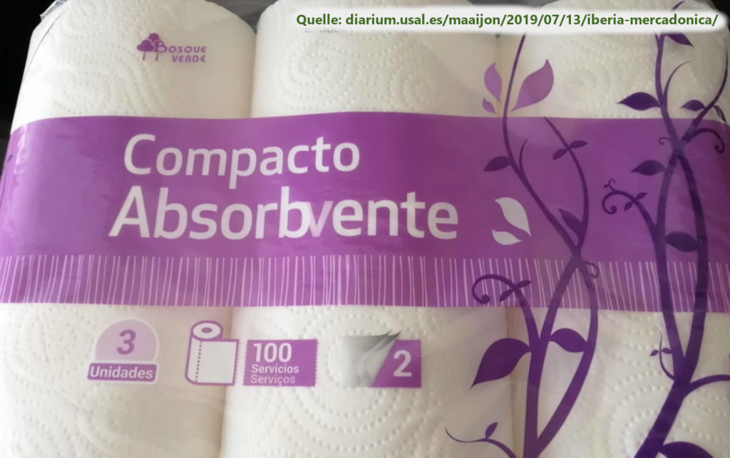 Die Verpackung von Küchenpapier auf Spanisch und Portugiesisch