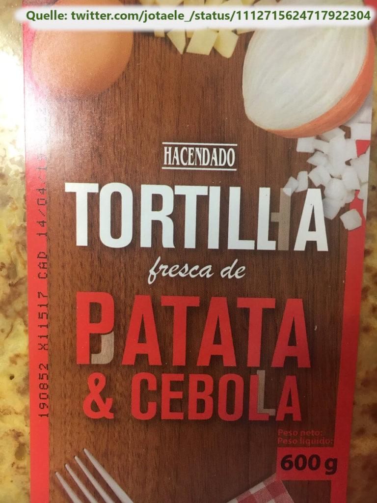 Die Verpackung einer Tortilla auf Spanisch und Portugiesisch