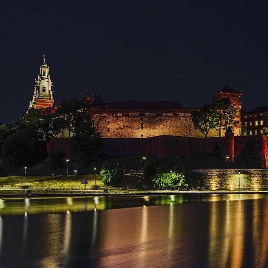 Krakau Wawel bei Nacht
