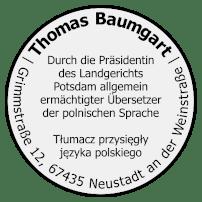 Thomas Baumgart - Ermächtigter Übersetzer - Beglaubigte Übersetzung - Polnisch - Stempel