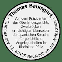 Thomas Baumgart - Ermächtigter Übersetzer - Beglaubigte Übersetzung - Spanisch - Stempel