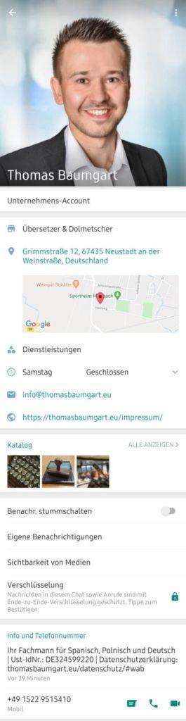 Screenshot des Unternehmensprofil von Thomas Baumgart