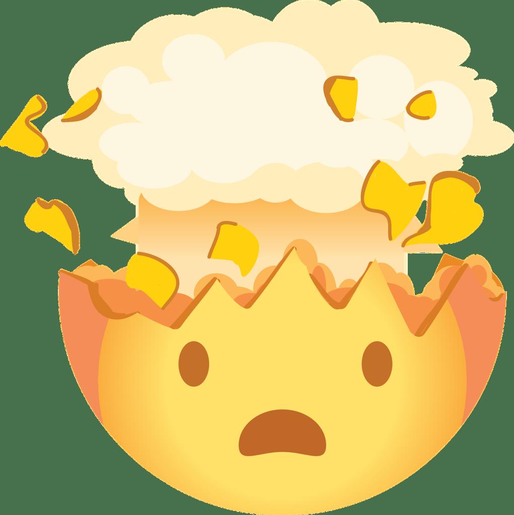 Ein Emoticon mit platzendem Gehirn