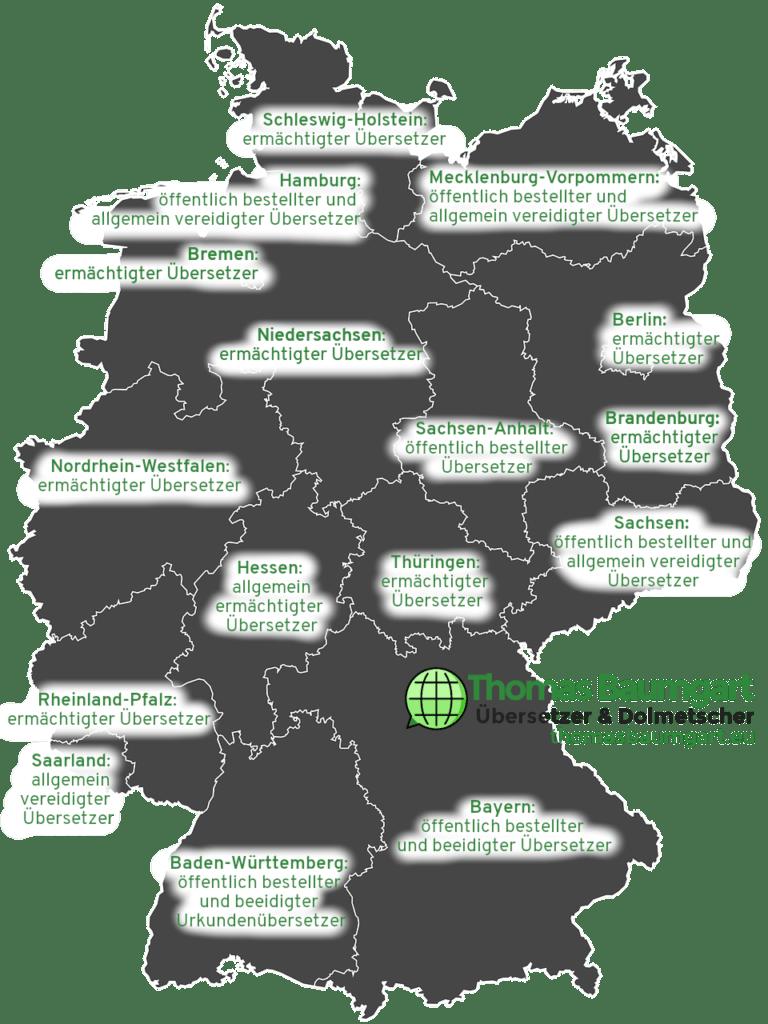 Schaubild: Deutschlandkarte mit den jeweiligen Bezeichnungen beglaubigter Übersetzer/vereidigter Übersetzer