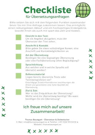 Checkliste für Übersetzungsanfragen - Thomas Baumgart - Übersetzer & Dolmetscher