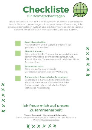 Checkliste für Dolmetschanfragen - Thomas Baumgart - Übersetzer & Dolmetscher