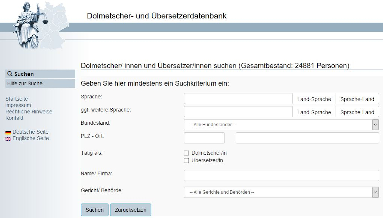 Screenshot der Dolmetscher- und Übersetzerdatenbank